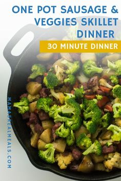 This one pan sausage and veggie skillet dinner is an easy weeknight dinner with only 10 minutes prep! An easy 30 minute skillet dinner that you can adjust to the vegetables you have on hand. 30 Minute Dinners, Easy Weeknight Dinners, Frugal Meals, Easy Meals, Healthy One Pot Meals, Healthy Vegetable Recipes, Clean Eating Recipes, Cooking Recipes, Easy Recipes
