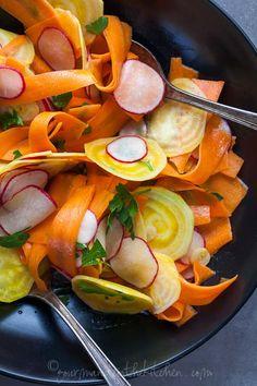 Shaved Root Vegetable Salad from GourmandeintheKitchen.com Shaved Golden Beet, Carrot and Radish Salad with Coriander Mustard Vinaigrette
