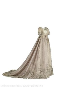 1805 [ca]  Neoclassicism regency trained white dress gown