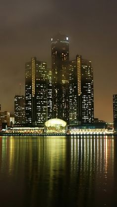 detroit, michigan, usa, america, night, view, lights, skyscrapers, houses, buildings,