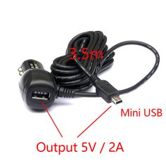 DC 8-36 V Đến 5 V 2A Kép USB Car Adapter Sạc Cigarette Lighter cho Car DVR Xe Sạc với 3.5 meter cáp Cổng USB Mini