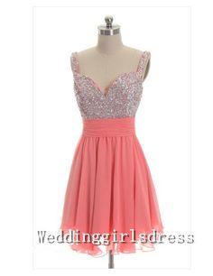 Coral Beadings Sweetheart Strapless Short by Weddinggirlsdress, $88.00 @Heather Bozant  I LOVE this one!
