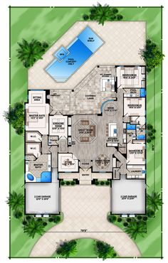 Palencia - House Plan offered by South Florida Design located in Bonita Springs, FL House Layout Plans, New House Plans, Dream House Plans, House Layouts, House Floor Plans, Tuscan House Plans, Tiny House Layout, Coastal House Plans, Florida House Plans