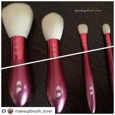#Repost @makeupbrush_lover with @repostapp. Koyomo: Hana pink handle. Gradation set I'm really enjoying them The ergonomic handle is so friendly and feels so nice in your hand. Plus the new flat brush is really good to apply your eyeshadow all over your lid... Quite slim but very efficient #koyomo #japanesebrushes #brushlover #fude #japan #makeupbrushes #brushset #fudejapan