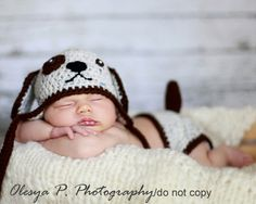 Cuttest thing ever!  Baby shower gifts ideas. PDF CROCHET PATTERN - Puppy hat and diaper cover. $5.95, via Etsy.