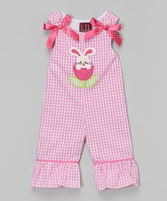 Look what I found on #zulily! Pink Gingham Bunny Ruffle Overalls - Infant & Toddler by Lil Cactus #zulilyfinds