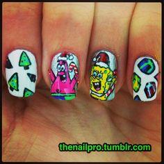 SPONGEBOB Christmas #nail #nails #nailart