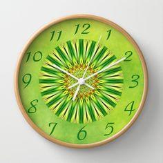 Mandala green Star Wall Clock by Christine baessler - $30.00