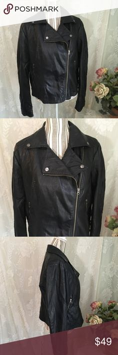 ROCK & REPUBLIC Vegan Leather Motorcycle Jacket This Rock & Republic vegan leather cropped moto jacket is black with silver zipper accents and snaps. Really nice faux leather, this looks very realistic.Front silver asymmetrical zip. Hand warmer zip pockets. Fully lined in polyester.   Size XL, measurements are approximate: - 21 inches underarm to underarm  - 20 inches across waist  - 25.5 inch sleeves  - 17 inches across back shoulder seam to shoulder seam - 23 inches shoulder to hem   No…