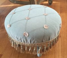 Re-upholstered round foot stool by VintageSowles on Etsy