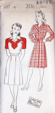 "1940s Misses Shirt Dress Vintage Sewing Pattern Summer Fashion, New York 607 Bust 34"" uncut. $28.00, via Etsy."