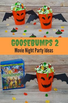 We're celebrating that the Blu-ray, DVD and Digital Combo Pack is now available at Check out these awesome Goosebumps 2 Movie Night Party Ideas. Halloween Movie Night, Movie Night Party, Family Movie Night, Halloween Kids, Halloween Crafts, Movie Nights, Halloween Party, Party Time, Goosebumps 2