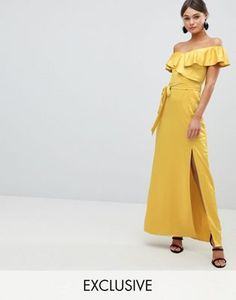 Silver Bloom Off The Shoulder Frill Maxi Dress With Waist Tie