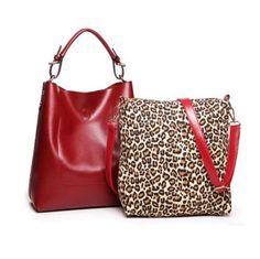 Due in Uno - Bright Color Genuine Leather Messenger Handbag