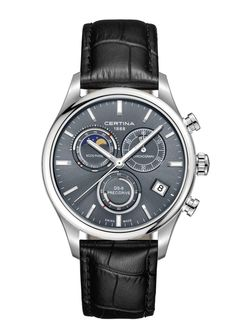 Certina Watch Chrono Moon Phase Watch available to buy online from with free UK delivery. Swiss Made Watches, Fine Watches, Watches For Men, Men's Watches, Leather Buckle, Cow Leather, Black Leather Watch, Jewelry Quotes, Quartz Watch