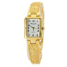 Women's Rectangle Dial Hollow Engraving Alloy Band Quartz Analog Wrist Watch (Assorted Colors) – USD $ 6.99