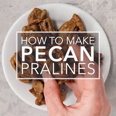 Pecan pralines are m Pecan pralines are more than the sum of their parts: pecans sugar cream butter and vanilla. They're a rich crunchy candy-coated indulgence! Make them for a holiday cookie tray or to ship to a friend. Pecan Recipes, Candy Recipes, Dessert Recipes, Cooking Recipes, Simply Recipes, Sweet Recipes, Praline Candy, Pecan Candy, Pecan Pralines