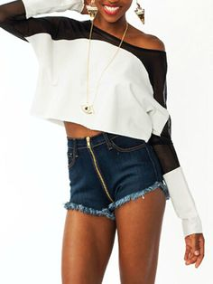White Contrast Sheer Panel Crop T-shirt | abaday