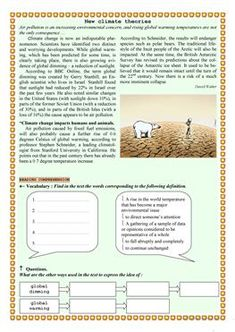 New climate theories - ESL worksheets