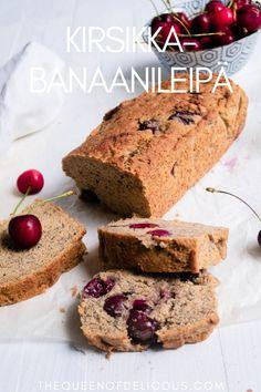 Mehevä, perinteinen banaanileipä saa lisää makeutta ja makua kirsikoista ja vaniljasta. Kirsikka-banaanileipä on gluteeniton eikä siihen ole lisätty sokeria. #gluteeniton #gluteenitonleivonta #banaanileipä #kirsikka #kesäruokaa #sokeriton