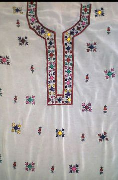 Traditional Embroidery Hand Embroidery Dress, Embroidery Neck Designs, Creative Embroidery, Indian Embroidery, Beaded Embroidery, Embroidery Stitches, Embroidery Patterns, Fancy Kurti, Dress Design Sketches