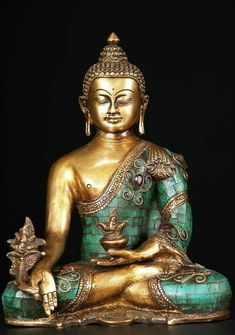 Check out the deal on SOLD Medicine Buddha Brass Statue with Stones at Hindu Gods & Buddha Statues Buddha Kunst, Buddha Zen, Buddha Wall Art, Buddha Painting, Buddha Decor, Statue Tattoo, Greek Statues, Angel Statues, Buda Statue