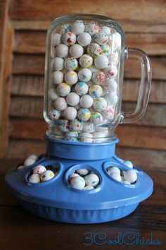 Chicken Feeder Candy Dish - Country Blue |  AWESOME idea for a baby shower centerpiece - 3CoolChicks on etsy.com