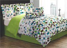 Minecraft Pixels Teen Bedding Bed in a Bag Comforter Set Geometric Green White Brown Blue