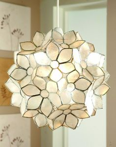 Loxton Lighting Capiz Shell Flowers Non Electric Pendant Next Day Delivery From Worlds