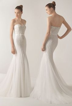 Brides: Soft by Rosa Clará. Beaded tulle dress in a natural color.