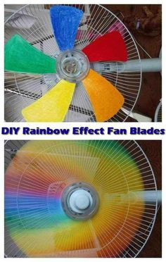 Turn a regular fan into an amazing rainbow one. | 23 DIY Projects That Will Blow everyone's Mind this is amazing