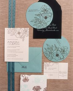 Garden Party Invitation  This blue, black, and white letterpress stationery takes its inspiration from the garden.