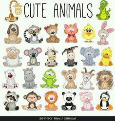 Illustration about Set of Cute Animals on a white background. Illustration of cute, lemur, koala - 65607715 Safari Animals, Baby Animals, Cute Animals, Funny Animals, Easy Drawings, Rock Art, Cute Cartoon, Baby Quilts, Doodles