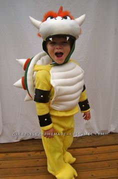Karly: I made this costume completely from scratch for my son, Henry. He is obsessed with the villain, Bowser (aka King Koopa) from the Mario Brothers video games. Bowser Halloween Costume, Bowser Costume, Little Boy Halloween Costumes, Halloween Costume Contest, Family Costumes, Boy Costumes, Halloween Kostüm, Costume Ideas, Super Mario Costumes