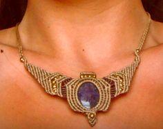 Collar de Macrame triángulo flecha Tribal Mujer por Kalajadoo