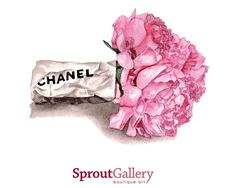 LARGE Chanel paper wrap and pink peonies print of original watercolour