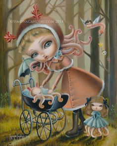 Octavia's Maternity LIMITED EDITION print signed numbered Simona Candini lowbrow pop surrealism big eyes baby octopus fantasy Victorian girl...