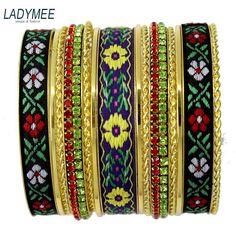 LADYMEE Bangles Fashion Indian Jewelry Bracelets for Women Luxury Rhinestone Gold Color Bohemian Vintage Flower Bracelet Jonc #Affiliate
