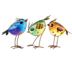 Plow & Hearth Set of 3 Colorful Glass Bird Garden Accents