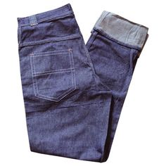 "Rockabilly cotton indigo blue denim 1950s unworn jeans, 32"" waist from Candy Says Vintage Clothing www.candysays.co.uk"