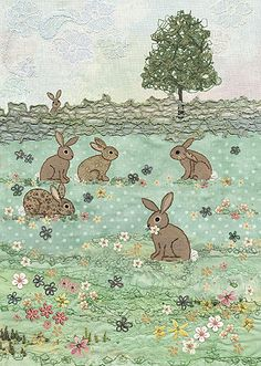 BugArt ~ Rabbit Meadow. Amy's Cards *NEW* Original embroideries by Amy Butcher. Cards designed by Jane Crowther.