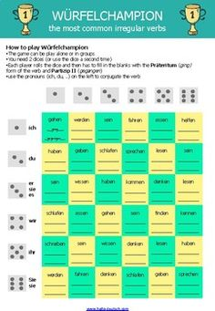Dice game for practicing the past form of irregular verbs (German) Grammar Quiz, Grammar Games, Vocabulary Games, German Resources, German Grammar, German Language Learning, Irregular Verbs, Learn German, Printable Worksheets