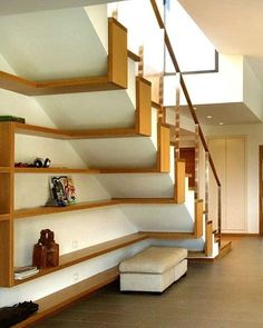 44 Unbelievable Storage Under Staircase Ideas Bewitching Your Staircase Look Clever - Elevatedroom Under Staircase Ideas, Storage Under Staircase, Stair Storage, Storage Shelves, Railing Ideas, Storage Ideas, Stair Shelves, House Shelves, Open Staircase