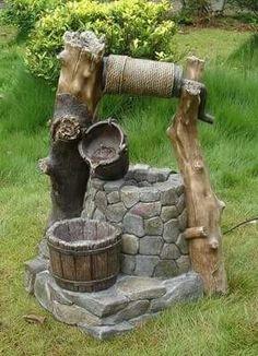 Wishing Well Outdoor Garden Water Fountain Yard and Garden Decor Garden Crafts, Garden Projects, Garden Art, Garden Design, Garden Water Fountains, Water Garden, Do It Yourself Garten, Water Features In The Garden, Wishing Well