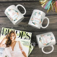 Are you wedding planning and looking for the oh so perfect favor for your bridal party?! Our adorable personalized mugs are a great gift idea that your girls will get tons of use out of!!