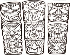 Find Vintage Carved Polynesian Tiki Totem Vector stock images in HD and millions of other royalty-free stock photos, illustrations and vectors in the Shutterstock collection. Tiki Tattoo, Hawaiianisches Tattoo, Totem Pole Drawing, Colouring Pages, Coloring Books, Tiki Maske, Tiki Faces, Tiki Head, Tiki Totem