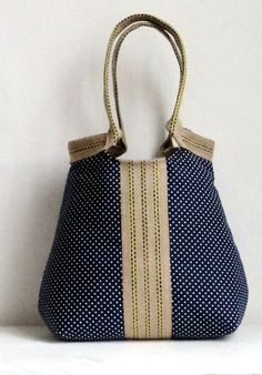 Handbag Purse Navy blue French  shoulderbag with dots TRES CHIC via Etsy