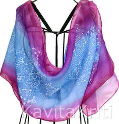 Silk sari scarf. Colorful scarf. Hand painted silk by KavitaKriti, $55.00 https://www.etsy.com/listing/158921898/silk-sari-scarf-colorful-scarf-hand?ref=shop_home_active