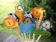 kids jungle birthday party pictures   Kids Party Ideas / Set of 6 Table Decorations Jungle/Zoo/SafariTheme ...