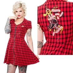 NEW Sourpuss Derby Till Death Red Plaid RockABilly Skate Dress Punk Roller Derby #Derby